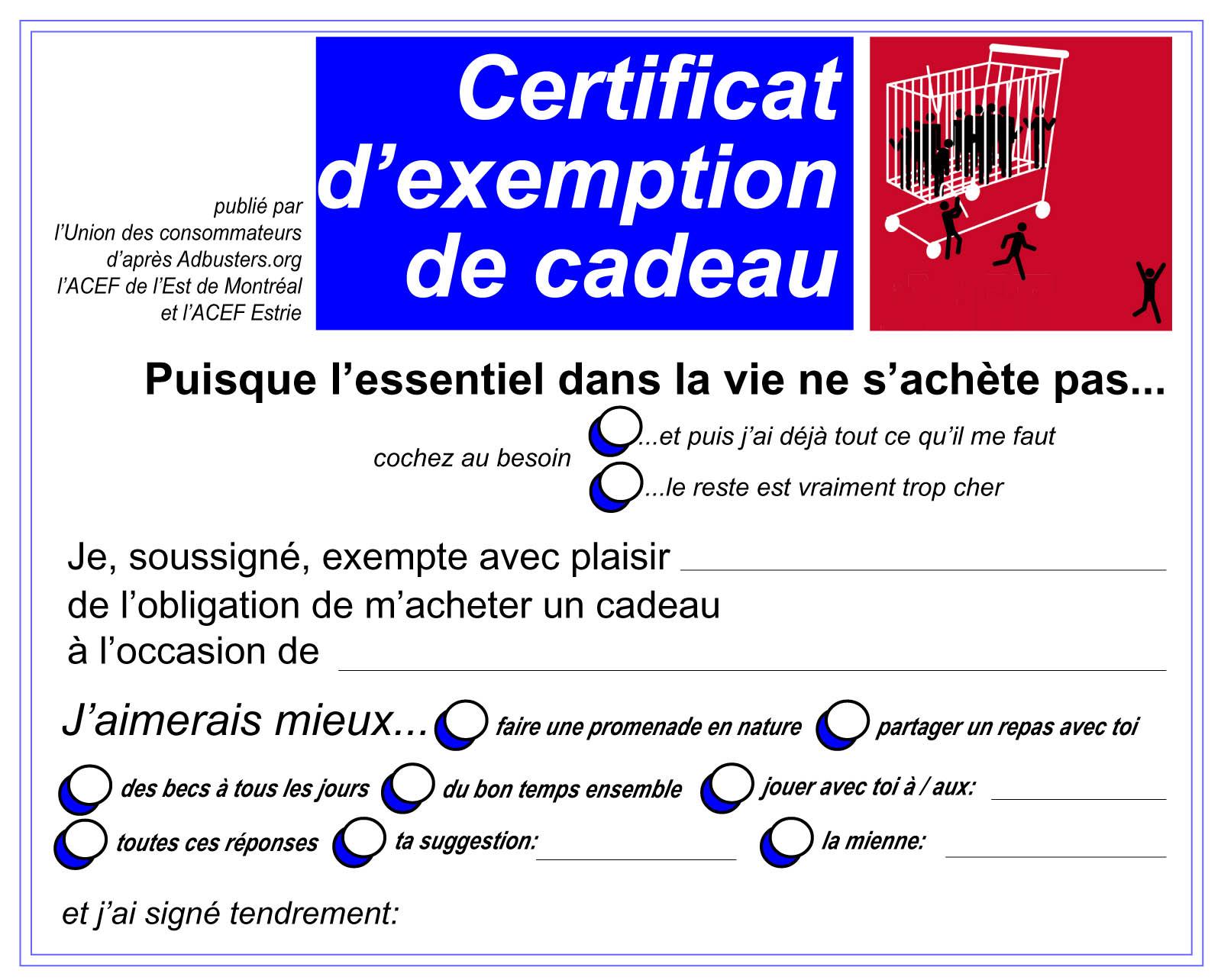 Certificat d'exemption de cadeau pour Noël   EPN Ressources